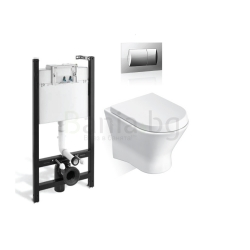 Комплект ROCA NEXO тоалетна чиния и капак със забавено падане, структура и бутон ACTIVE