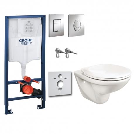 Комплект GROHE 4v1/ROCA FAYANS NEO, тоалетна чиния с капак по избор, структура за вграждане GROHE с бутон по избор