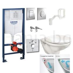 Комплект GROHE 5v1/ROCA FAYANS NEO Rimless тоалетна чиния с капак по избор, структура за вграждане GROHE с бутон по избор