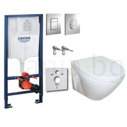Комплект GROHE 4v1/ROCA FAYANS VIVA HAPPY, тоалетна чиния с капак, структура за вграждане GROHE с бутон по избор