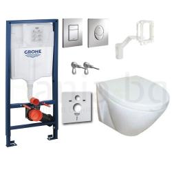 Комплект GROHE 5v1/ROCA FAYANS VIVA HAPPY, тоалетна чиния с капак, структура за вграждане GROHE с бутон по избор