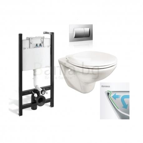 Комплект ROCA FAYANS NEO Rimless тоалетна чиния и капак, структура и бутон Eco Solution