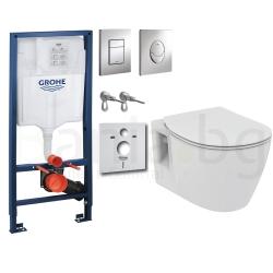 Комплект GROHE 4v1/IDEAL STANDARD Connect, тоалетна чиния, с капак, структура за вграждане GROHE с бутон по избор
