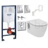 Комплект GROHE 5v1/IDEAL STANDARD Connect, тоалетна чиния, с капак, структура за вграждане GROHE с бутон по избор