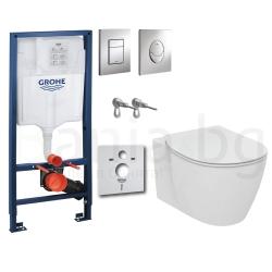Комплект GROHE 4v1/IDEAL STANDARD Connect, тоалетна чиния със скрито присъединяване, капак, структура GROHE с бутон по избор