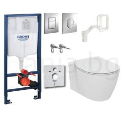 Комплект GROHE 5v1/IDEAL STANDARD Connect, тоалетна чиния със скрито присъединяване, капак, структура за вграждане GROHE с бутон