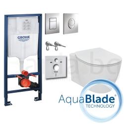 Комплект GROHE 4v1/IDEAL STANDARD Connect AquaBlade, тоалетна чиния, капак, структура за вграждане GROHE с бутон по избор