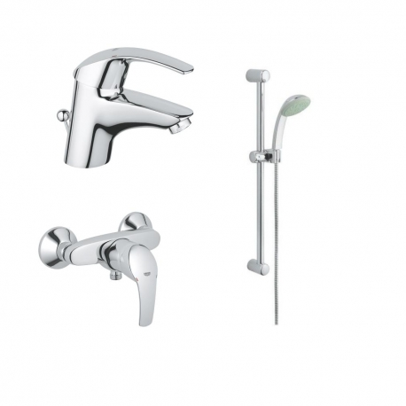 Комплект за баня Grohe смесител за мивка Eurosmart, смесител за душ Eurosmart и душ Tempesta Trio
