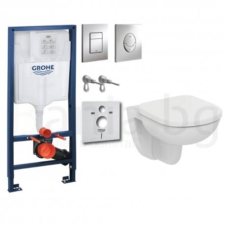 Комплект GROHE 4v1/IDEAL STANDARD Tempo 48, тоалетна чиния на 48 см. с капак, структура за вграждане GROHE с бутон по избор от Б
