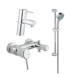 Комплект за баня Grohe смесител за мивка Concetto EcoJoy®, смесител за душ Concetto и душ New Tempesta Cosmopolitan 100