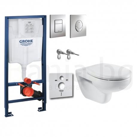 Комплект GROHE 4v1/ROCA VICTORIA, тоалетна чиния с капак, структура за вграждане GROHE с бутон по избор