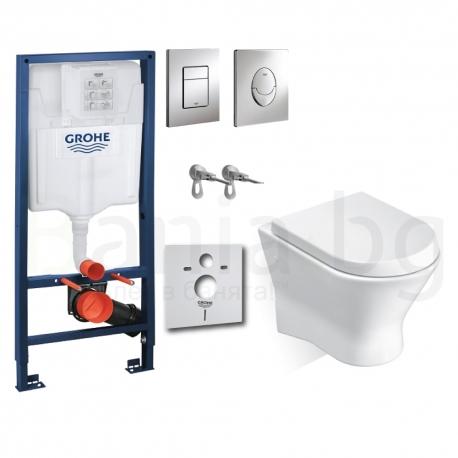 Комплект GROHE 4v1/ROCA NEXO, тоалетна чиния с капак, структура за вграждане GROHE с бутон по избор от Баня.бг - Влез в банята!
