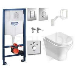 Комплект GROHE 5v1/ROCA NEXO, тоалетна чиния с капак, структура за вграждане GROHE с бутон по избор