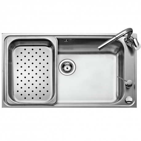 Кухненска мивка TEKA BIG BOWL 86 1C (Bahia Plus) от неръждаема стомана, с иноксова перфорирана тавичка