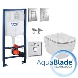 Комплект GROHE 4v1/IDEAL STANDARD Tesi AquaBlade, тоалетна чиния, капак, структура за вграждане GROHE с бутон по избор, шумоизолация