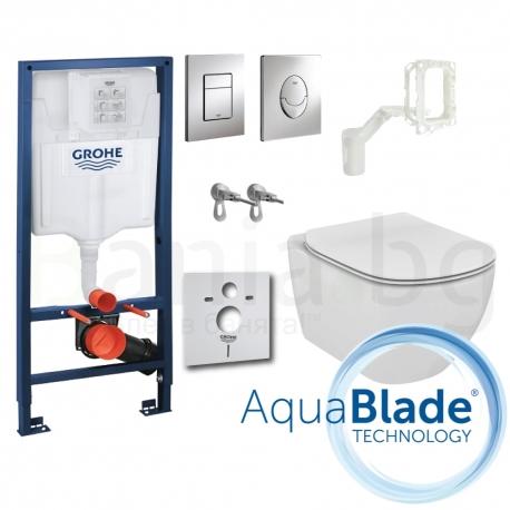 Комплект GROHE 5v1/IDEAL STANDARD Tesi AquaBlade, тоалетна чиния, капак, структура за вграждане GROHE с бутон по избор, FRESH си