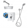 Комплект за вграждане ROCA ATLAS с квадратна душ пита Rainsense 200 mm, стенно рамо, ръчен душ Sensum Square 80 mm