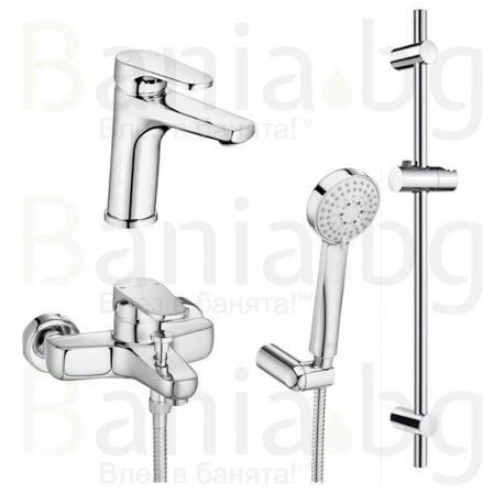 Комплект ROCA ANARA 3v1 Смесители за мивка и вана душ и душ гарнитура ANARA