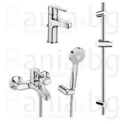 Комплект ROCA AROLA 3v1 Смесители за мивка и вана душ и душ гарнитура AROLA
