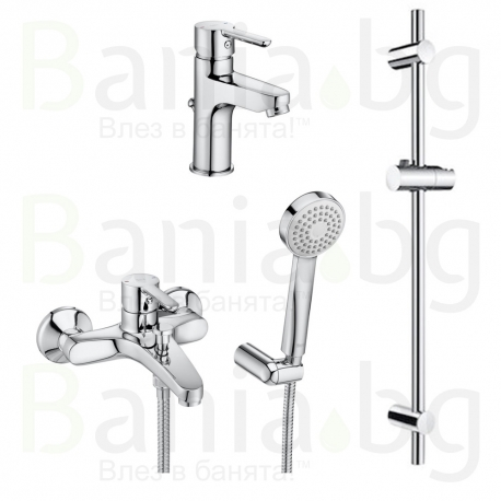 Комплект ROCA ALORA 3v1 Смесители за мивка и вана душ и душ гарнитура ALORA