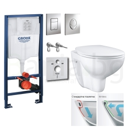 Комплект GROHE 4v1/ROCA FAYANS NEO Rimless тоалетна чиния с капак по избор, структура за вграждане GROHE с бутон по избор