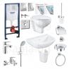 Пълен комплект за баня GROHE PALLET Bau Loop - структура за вграждане, тоалетна, мивка, полуботуш, смесители и аксесоари
