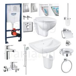 Пълен комплект за баня GROHE PALLET 1 Bau Edge - структура за вграждане, тоалетна, мивка, полуботуш, смесители и аксесоари