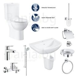 Пълен комплект за баня GROHE PALLET 2 Bau Edge - тоалетна моноблок, мивка, полуботуш, смесители и аксесоари