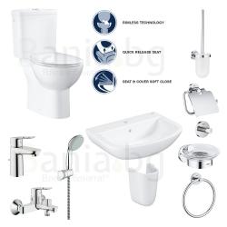 Пълен комплект за баня GROHE PALLET 2 Bau Loop - тоалетна моноблок, мивка, полуботуш, смесители и аксесоари