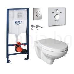 Комплект GROHE SOLIDO 4v1, 39192000, тоалетна чиния с капак със забавено падане, структура за вграждане GROHE с бутон Skate Air