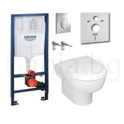 Комплект GROHE SOLIDO 39191000, тоалетна чиния MADISON с капак със забавено падане, структура за вграждане GROHE с бутон Skate A