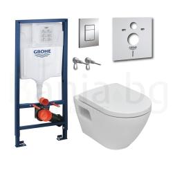 Комплект GROHE SOLIDO 39186000, тоалетна чиния PERFECT с капак със забавено падане, структура за вграждане GROHE с бутон Skate C