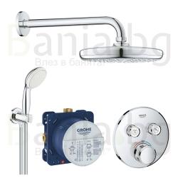 Термостатен комплект за душ GROHE Grohtherm SmartControl Perfect Tempesta 210, за вграждане, управление с бутони
