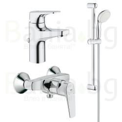 Комплект GROHE BauFlow, смесители за мивка, 23751000 и душ, 23755000 и тръбно окачване с душ New Tempesta 100 II, с 2 функции, 27598001
