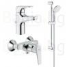 Комплект GROHE BauFlow, смесители за мивка и душ и тръбно окачване с душ New Tempesta 100 II, с 2 функции