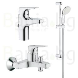 Комплект GROHE BauFlow, смесители за мивка, 23751000, вана и душ, 23756000 с тръбно окачване с душ New Tempesta 100 II, с 2 функции, 27598001