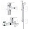 Комплект GROHE BauFlow, смесители за мивка, вана и душ с тръбно окачване с душ New Tempesta 100 II, с 2 функции