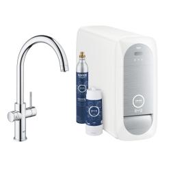 Система за пречистване на питейна вода GROHE Blue Home, за кухня, с модул за изстудяване и газиране на вода, със смесител с C-чучур
