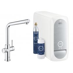 Система за пречистване на питейна вода GROHE Blue Home, за кухня, с модул за изстудяване и газиране на вода, със смесител с L-чучур