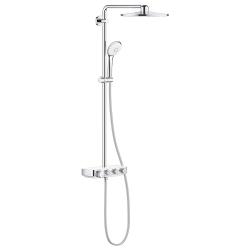 Термостатна душ система GROHE Euphoria SmartControl System 310 DUO, управление с бутони, с душ глава с 3 функции и ръчен душ с 3 функции, цвят Moon White, 26507LS0