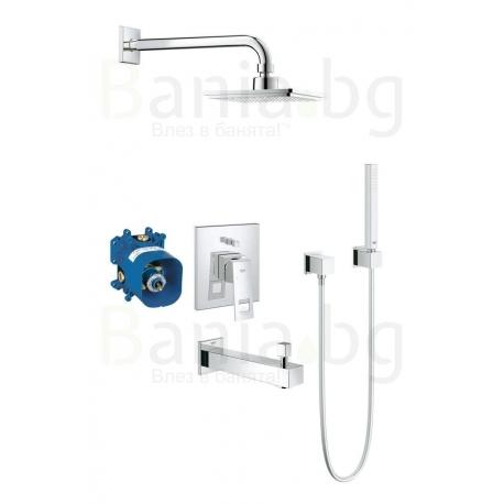 Комплект за душ GROHE Eurocube, за вграждане, трипътен смесител с душ пита 152 мм и ръчен душ