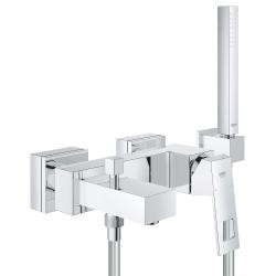 Комплект смесител за вана/душ GROHE Eurocube с ръчен душ, шлаух и окачване