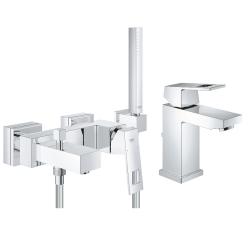 Комплект GROHE Eurocube смесител за мивка, 23127000, смесител вана/душ и ръчен душ GROHE Euphoria Cube с държач, 23141000
