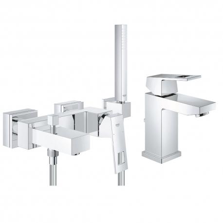 """Комплект GROHE Eurocube смесител за мивка 1/2"""", смесител вана/душ и ръчен душ GROHE Euphoria Cube с държач"""