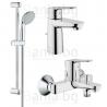 Комплект GROHE Bauedge, смесител за мивка, смесител за вана и душ, с чучур и тръбно окачване New Tempesta I 600мм с ръчен душ