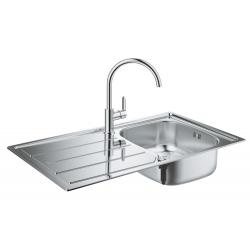 Комплект GROHE Bau K200 Кухненска мивка от неръждаема стомана с автоматичен сифон и смесител BauEdge, 31562SD0
