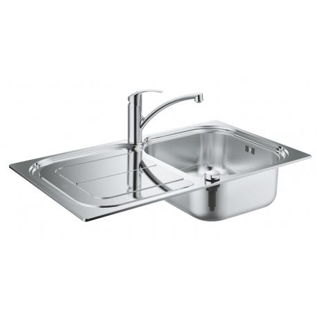 Комплект GROHE Eurosmart K300 Кухненска мивка от неръждаема стомана с автоматичен сифон и смесител Eurosmart, 31565SD0
