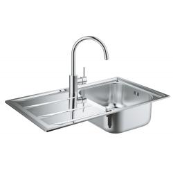 Комплект GROHE Concetto K400 Кухненска мивка от неръждаема стомана с автоматичен сифон и смесител Concetto, 31570SD0