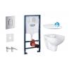 Комплект GROHE SOLIDO 39418000, тоалетна чиния BAU CERAMIC Rimless с капак със забавено падане, структура за вграждане GROHE с б