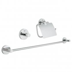 Комплект аксесоари за баня GROHE Essential 3в1, 40775001- Поставка за тоалетна хартия с капак,поставка за хавлии 600 мм и закачалка